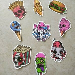Accessories - 9pc Grunge Food Decal Pack Stickers Kawaii Goth